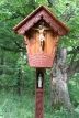 Carved post with Marian statue for Alpine Wayside Shrine
