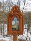 Small outddor Station of the Cross Wayside Shrine with ceramic porcelain tile