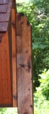 plain cut and stained western red cedar post for Alpine Wayside Shrine